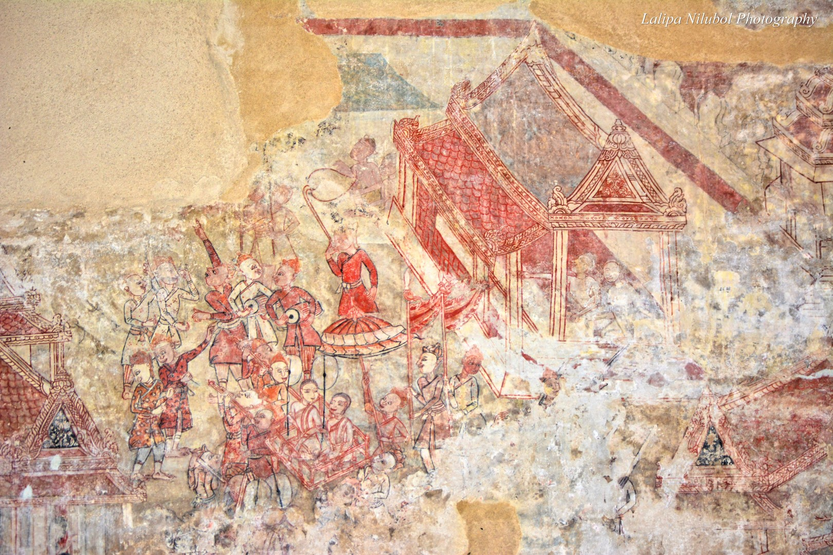 A mural painting exhibited in the old chapel of Wat Kwian Hak (Chanthaburi).